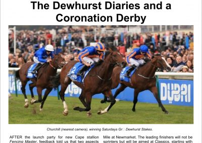 The Dewhurst Diaries and a Coronation Derby – Turf Talk: 10 October 2016