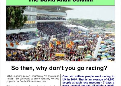 So then, why don't you go racing? – Turf Talk: 28 November 2016