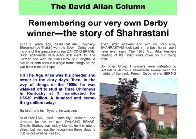 Remembering our own Derby winner – the story of Shahrastani – Turf Talk: 5 December 2016