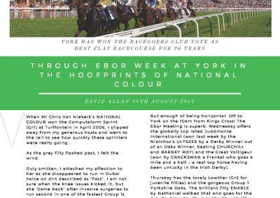 Through Ebor week at York – Turf Talk: 28 August 2017