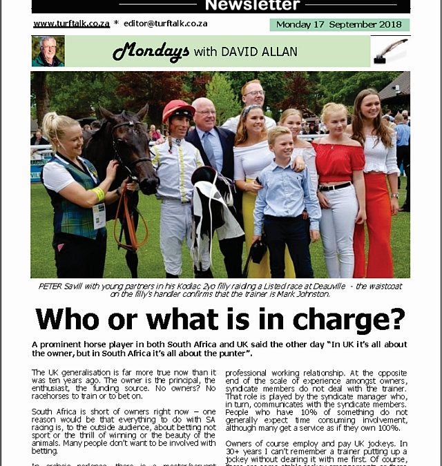 Who or what is in charge? – Turf Talk: 17 September 2018