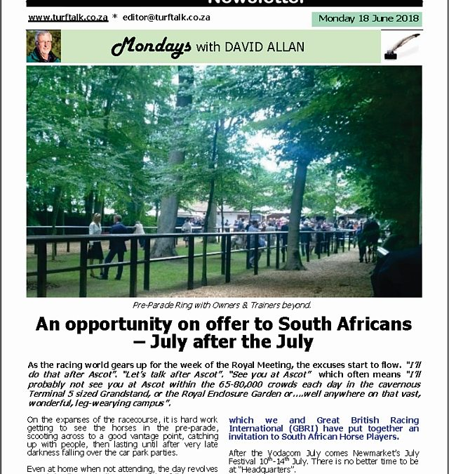 An opportunity on offer to South Africans – Turf Talk: 18 June 2018