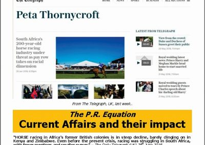 Current Affairs and their impact -Turf Talk: 2 July 2018