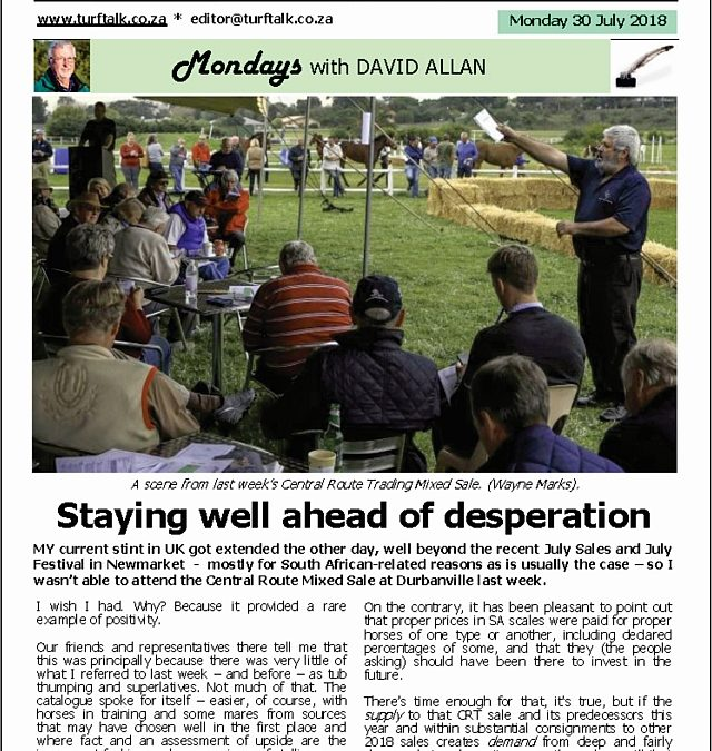 Staying well ahead of desperation – Turf Talk: 21 December 2018