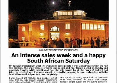 Intense sales week & a happy SA Saturday – Turf Talk: 5 November 2018