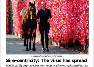 Sire-centricity: The virus has spread – Turf Talk: 8 October 2018