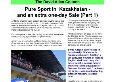 Pure Sport in Kazakhstan (Part 1) – Turf Talk: 12 December 2016