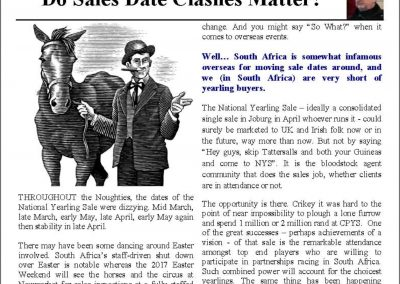 Do Sales Date Clashes Matter? – Turf Talk: 13 February 2017