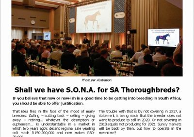 Shall we have S.O.N.A. for SA Thoroughbreds? – Turf Talk: 12 March 2018