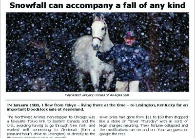 Snowfall can accompany a fall of any kind – Turf Talk: 15 January 2018