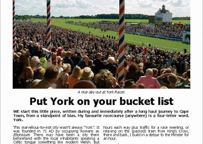 Put York on your bucket list – Turf Talk: 21 May 2018