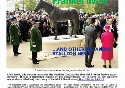 Frankel lives! And other breaking stallion news – Turf Talk: 30 April 2018
