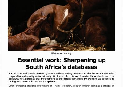 Sharpening up SA's databases – Turf Talk: 5 March 2018