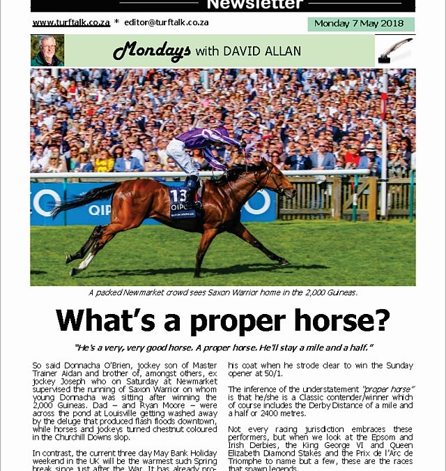 What's a proper horse? – Turf Talk: 7 May 2018