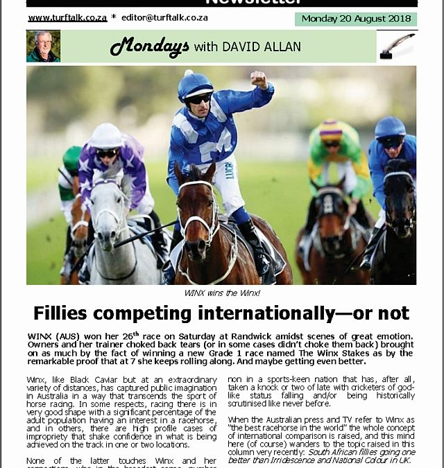 Fillies competing internationally – or not – Turf Talk: 20 August 2018