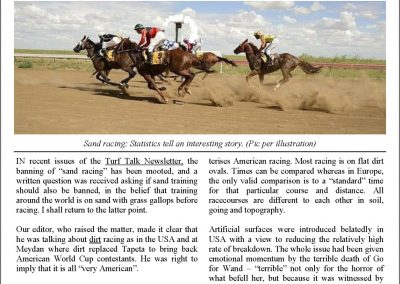 The dirt racing issue with contributions – Turf Talk: 31 July 2017