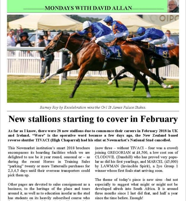 New stallions starting to cover in February – Turf Talk: 18 December 2017