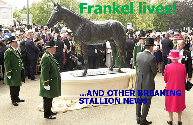 Frankel in bronze at Ascot but very much alive at stud.