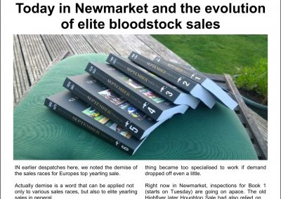 Today in Newmarket and the evolution of elite bloodstock sales – Turf Talk: 3 October 2016