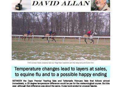 Temperature changes lead to possible happy ending – Turf Talk: 11 February 2019