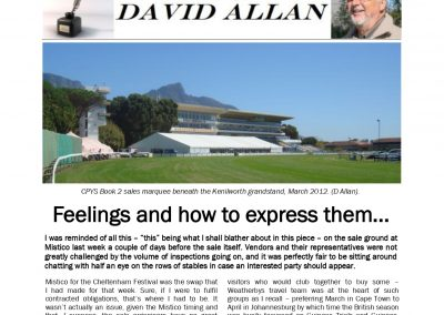 Feelings and how to express them – Turf Talk: 25 March 2019