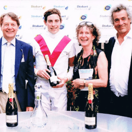 Chris Wall, James Doyle, Marguerite Nice and Martyn Yates havin' a laugh on Ice Lord's win at Newmarket