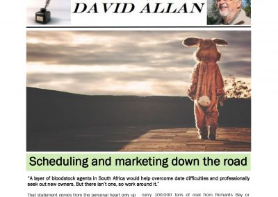 Scheduling and marketing down the road – Turf Talk: 8 April 2019