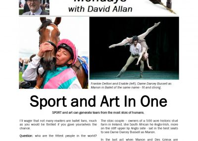 Sport and Art In One – Turf Talk: 29 July 2019