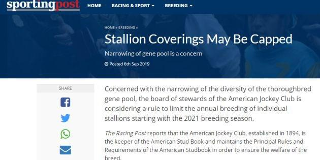 Spreading mares more widely to save the gene pool?