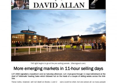 11 Hour selling days – New Markets- Selling below production costs – And how many yearlings in SA: Turf Talk: 21 October 2019