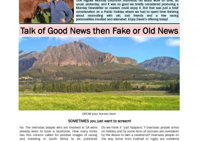 Talk of Good News then Fake or Old News – Turf Talk: 17 December 2019
