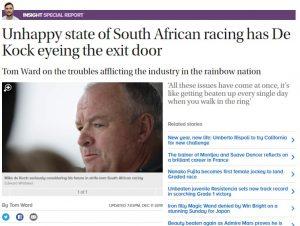 unhappy state of SA racing has de kock eyeing the exit door