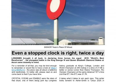 Even a stopped clock is right, twice a day – Turf Talk: 27 January 2020