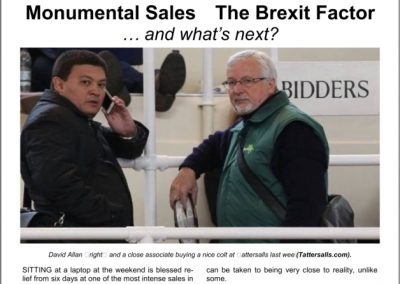 MONUMENTAL SALES – THE BREXIT FACTOR: 31 October 2016
