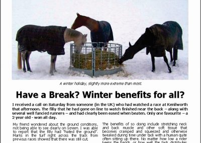 HAVE A BREAK? WINTER BENEFITS FOR ALL? Turf Talk: 23 July 2018
