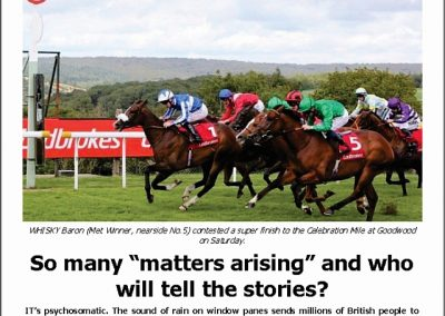"SO MANY ""MATTERS ARISING"" AND WHO WILL TELL THE STORIES? Turf Talk: 27 August 2018"