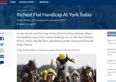 Richest Flat Handicap At York Today – Sporting Post: 24 August 2019