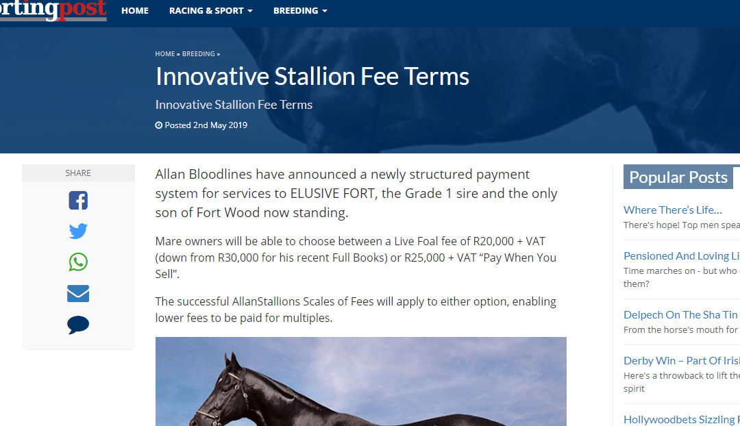 Innovative Stallion Fee Terms – Sporting Post: 2 May 2019