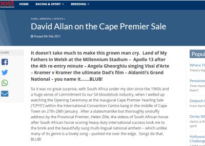 David Allan on the Cape Premier Sale – Sporting Post: 9 February 2011