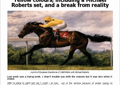 YELLOW COLOURS, INCLUDING A MICHAEL ROBERTS SET: Turf Talk – 26 March 2018