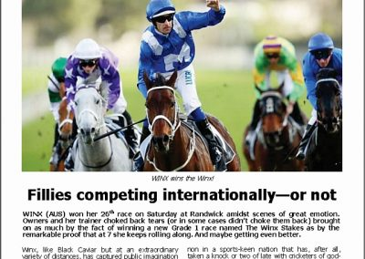FILLIES COMPETING INTERNATIONALLY – OR NOT: Turf Talk – 20 August 2018