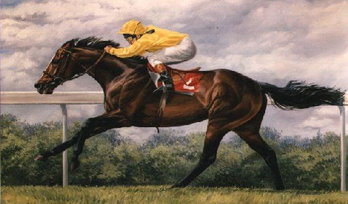 A print of European Racehorse of 1988 Mtoto with Michael Roberts.