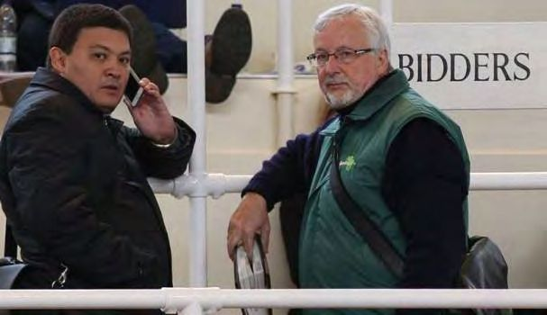 David Allan (right) and a close associate buying a nice colt at Tattersalls last week. (Tattersalls.com).