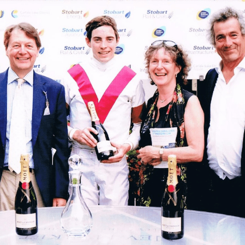 Chris Wall, James Doyle, Marguerite Nice and Martin Yates havin' a laugh on Ice Lord's Newmarket win