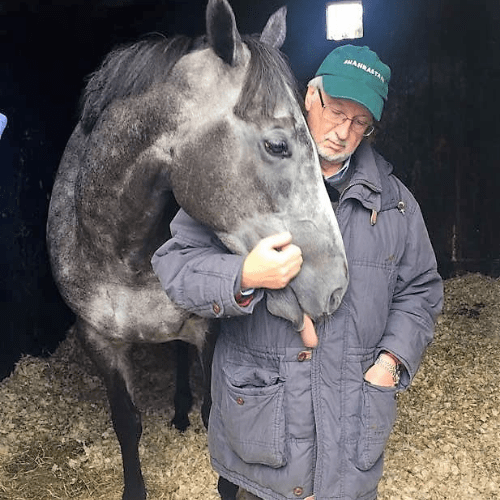 Ice Lord with David soon after his latest win. Maybe true love, but also looking for his next Extra Strong Mint.