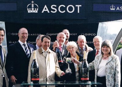 Ice Lord's Hintlesham Racing owners and trainer Chris Wall at Ascot