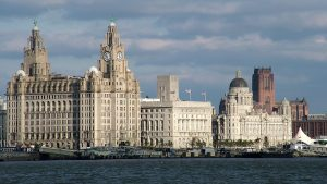 Liverpool's Thee Graces and the Anglican cathedral in the background