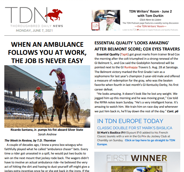 WHEN AN AMBULANCE FOLLOWS YOU AT WORK, THE JOB IS NEVER EASY: TDN – 7 June 2021