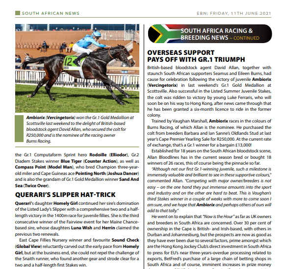 OVERSEAS SUPPORT PAYS OFF WITH GR.1 TRIUMPH: EBN – 11 June 2021