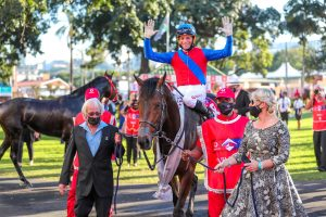 Crawford, Lerena and Rix celebrate with groom Luvo Zingelwayo (right) Pic: Candiese Lenferna